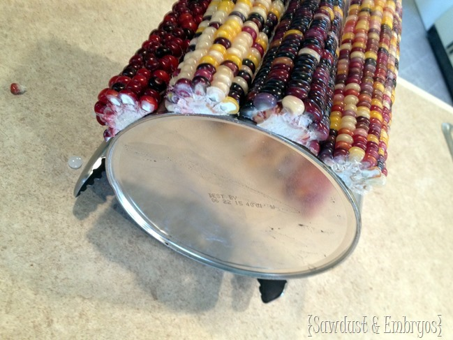 Fall decor - Indian Corn Cake Stand {Sawdust and Embryos}
