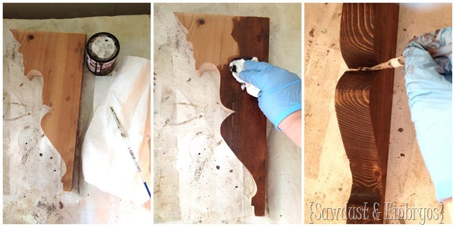 Stain the inside corbel for a fun effect.