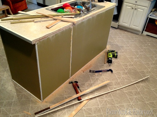 Ready to start building our DIY breakfast bar onto the kitchen island.