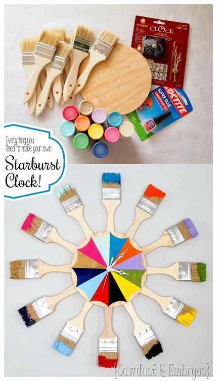 Dipped Paint Brush Starburst Clock Reality Daydream
