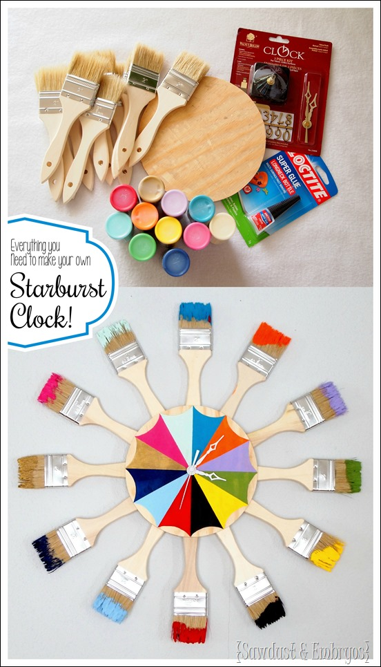 All the supplies you need to make your own paint-dipped paint brush starburst clock (or mirror!) {Sawdust and Embryos}