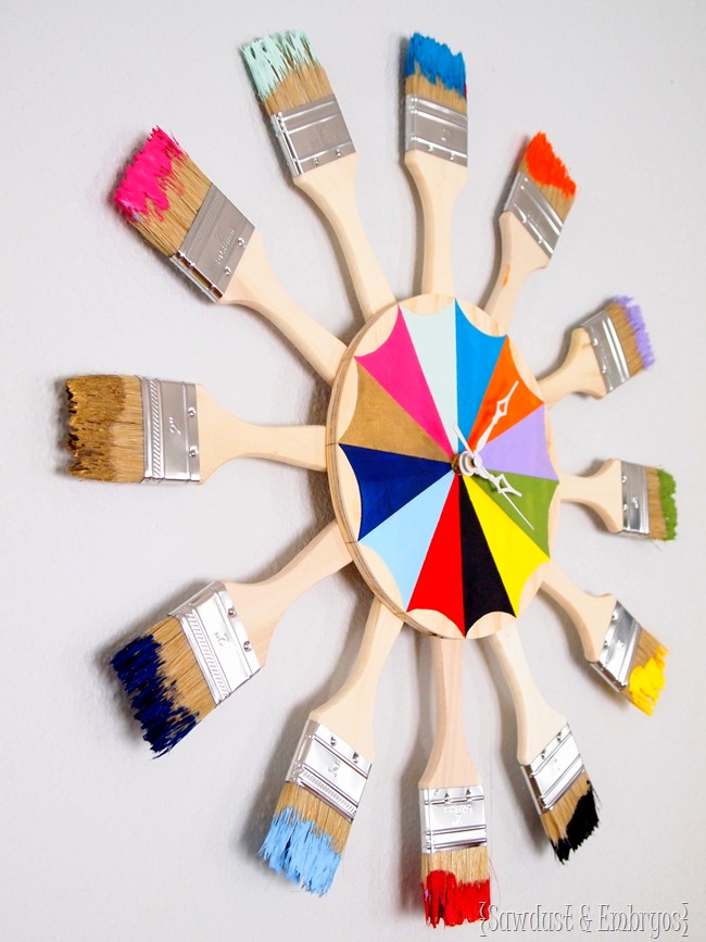 Dipped paint brush starburst clock sawdust and embryos