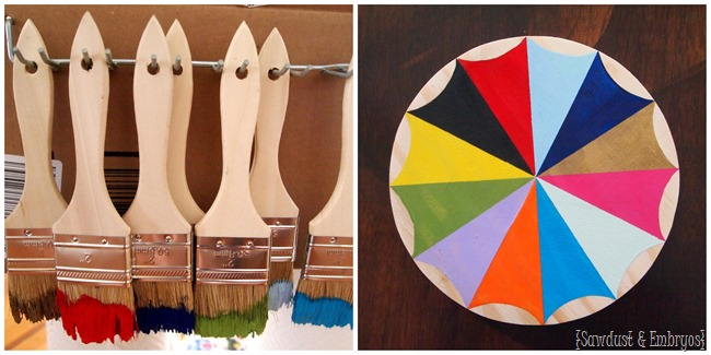 DIY Starburst Paint Brush Clock or Mirror {Sawdust and Embryos}