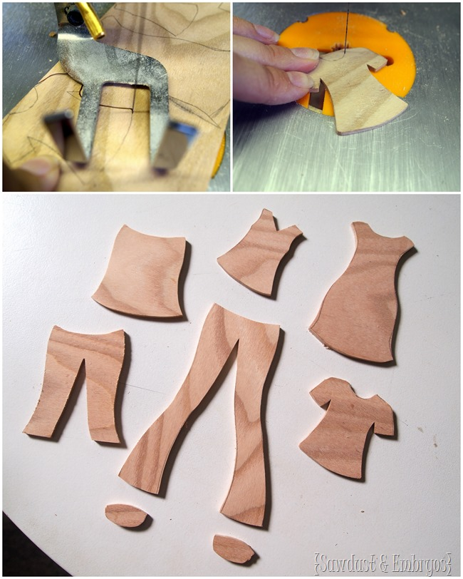 Make your own wooden paper doll with darling wooden clothing that you can paint and customize yourself! [Sawdust and Embryos}