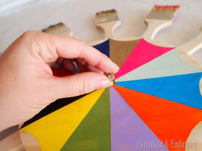 Making a paint brush starburst clock or mirror {Sawdust and Embryos}