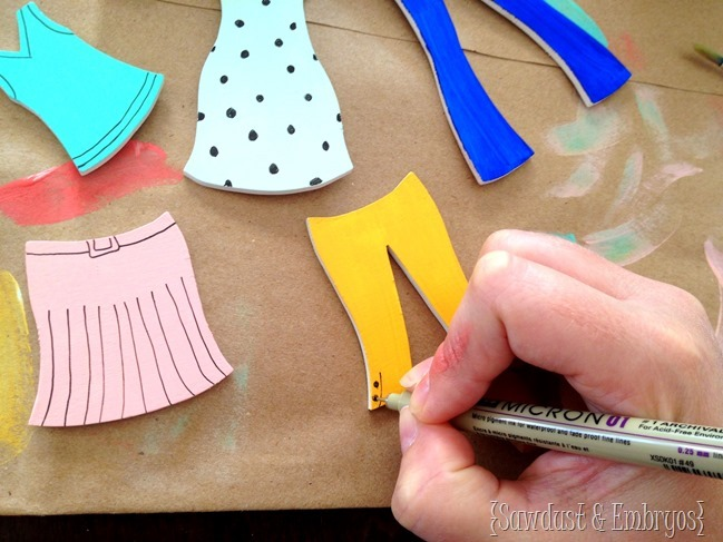 Making your own Wooden Paper Doll clothing for this DIY Wooden Paper Doll project! {Sawdust and Embryos}