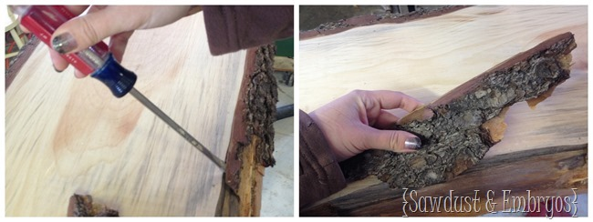 Removing bark from live edge wood to create a breakfast bar in the kitchen.