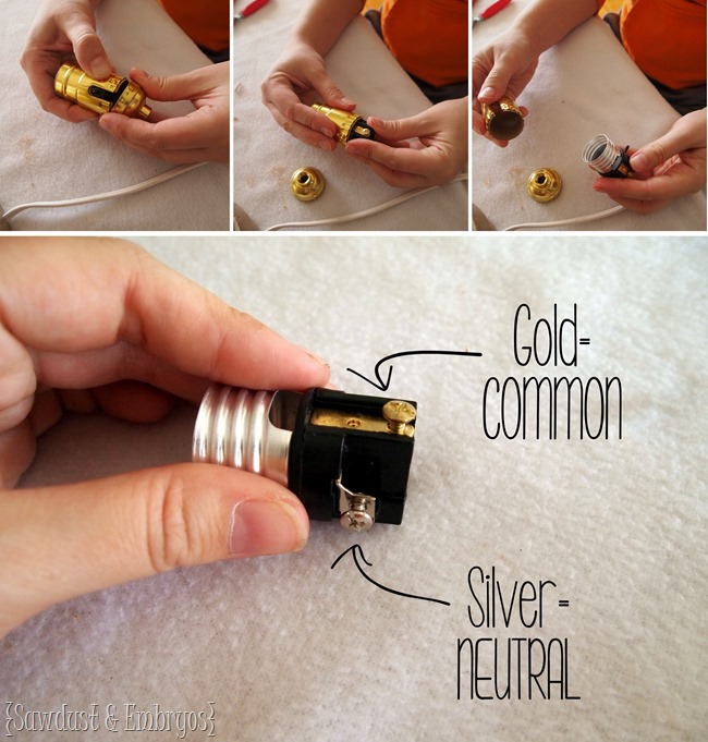 SUPER simple instructions for wiring your own table lamp {Sawdust and Embryos}