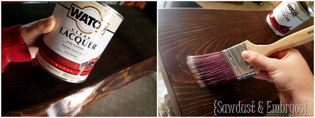 Sealing live edge wood countertop with lacquer {Sawdust & Embryos}