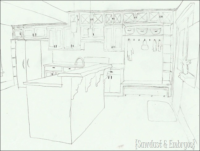 Sketch of FUTURE KITCHEN! {Sawdust and Embryos}