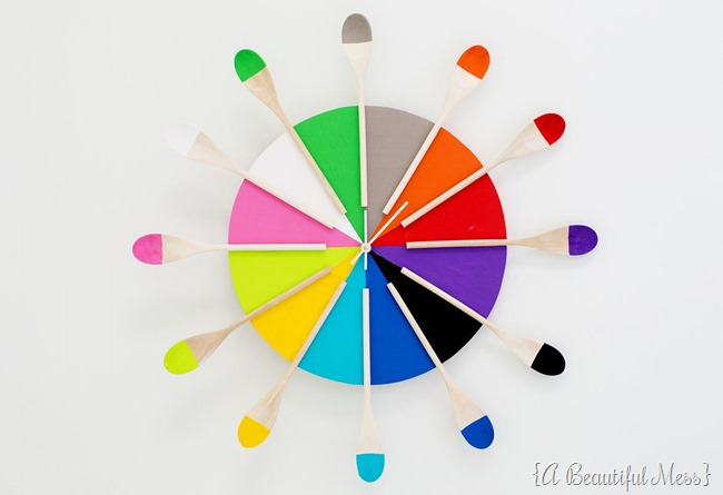 Wooden Spoon Clock by A Beautiful Mess