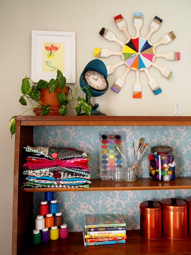 Apply removable wallpaper to the back of a hutch for a quick punch of color! {Sawdust and Embryos}
