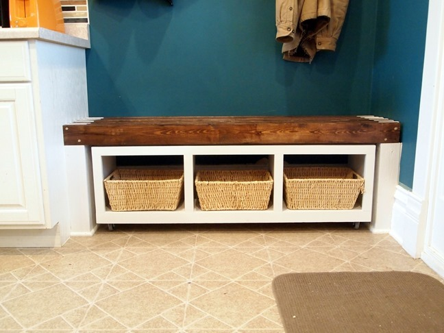 Built-in mudroom bench with roll-out cubby bench {Sawdust and Embryos}