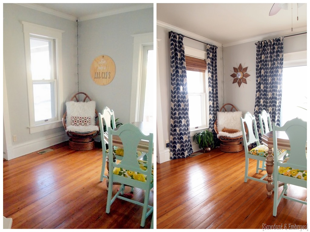 Dining room curtains at last reality daydream for Drapes or curtains difference