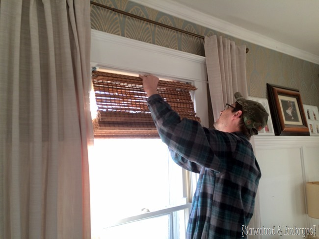 Customizing woven bamboo shades to perfectly fit your windows!