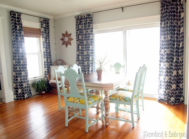 Dining room with new DIY curtains! {Sawdust and Embryos}