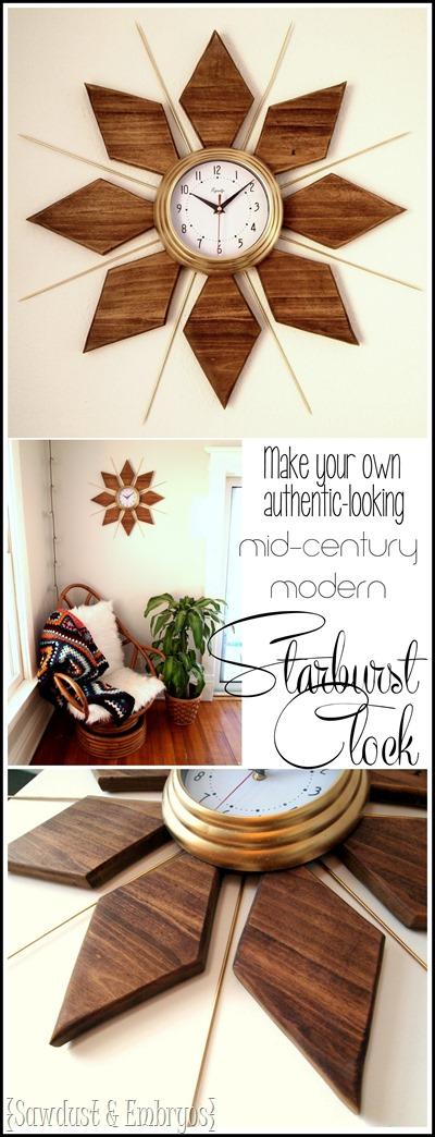 Make Your Own DIY Mid Century Modern Starburst Clock... It Looks So