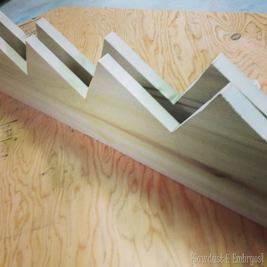 Matching zigzag boards for building mudroom cubbies.