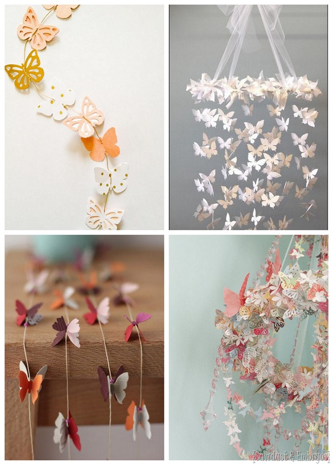 Butterfly garland and mobile ideas for above the crib {Sawdust and Embryos}