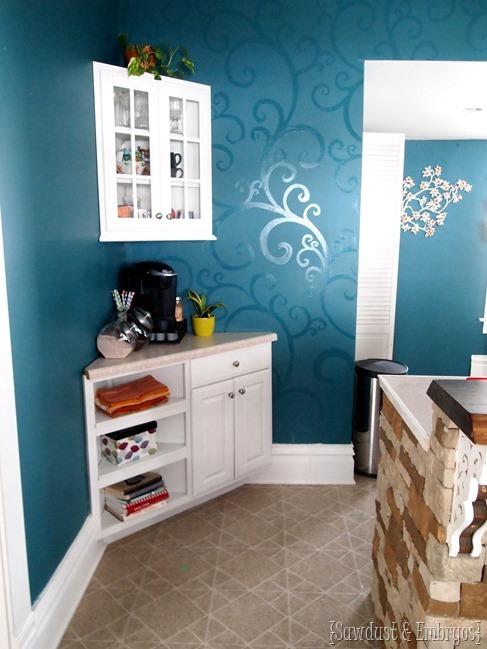 Corner Cabinet Coffee Bar {Sawdust and Embryos}.JPG