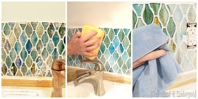 Glass tile backsplash installation {Sawdust and Embryos}