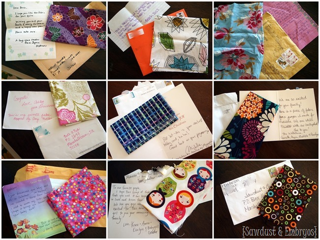 Have all your close friends and family send you a swatch of fabric, and make a super sentimental baby quilt! {Sawdust and Embryos}