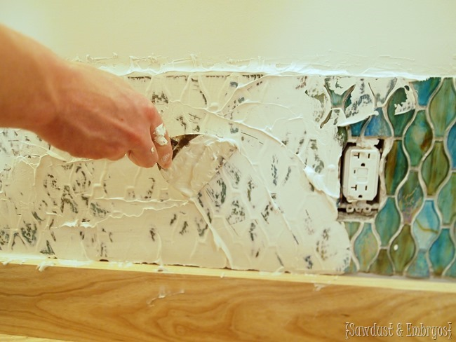 How to install glass tile with clear film method {Sawdust and Embryos}