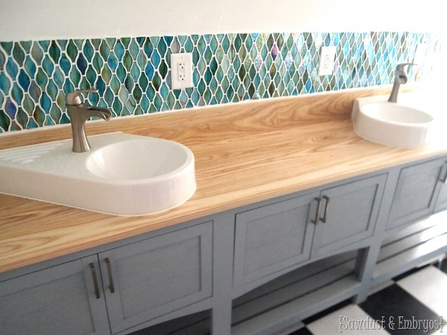 Installing Glass Tile Backsplash using the clear plastic film method {Sawdust and Embryos}