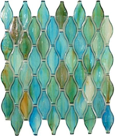 Iridescent glass backsplash tiles