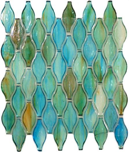 Iridescent glass backsplash tiles