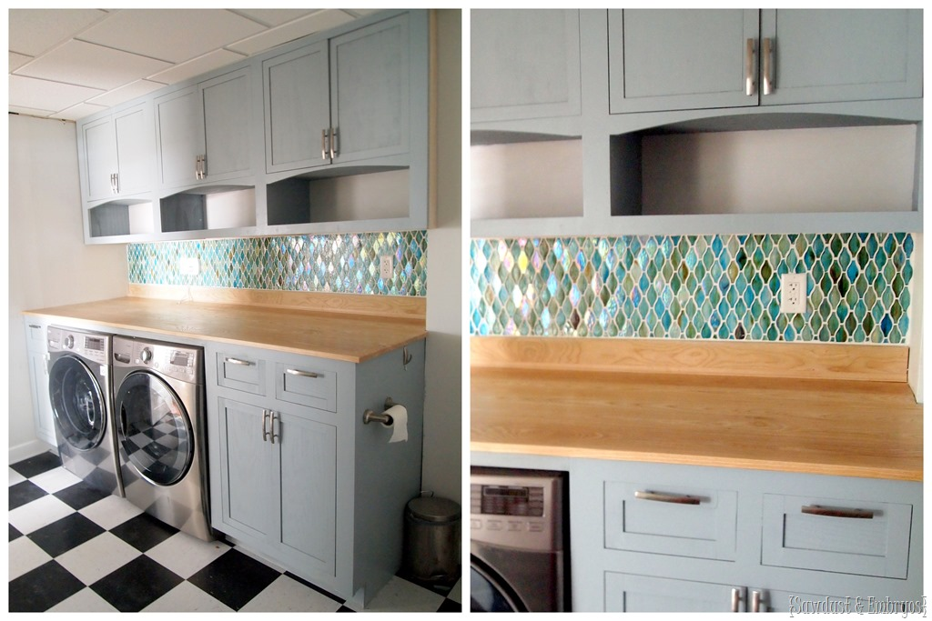Laundry Room Transformation... Installing Glass Tile Backsplash {Sawdust  And Embryos}.