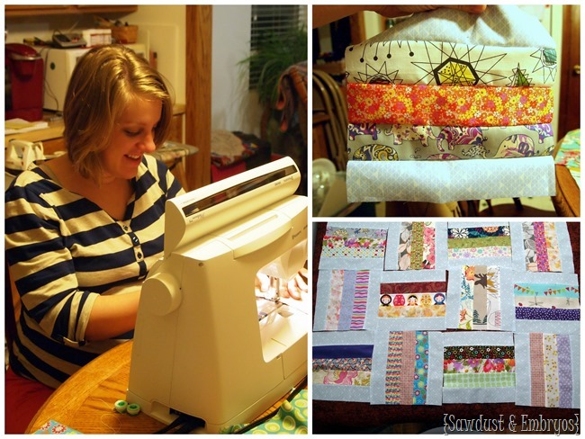 Make a baby quilt with lots of meaningful and sentimental scraps of fabric {Sawdust and Embryos}