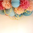 Pom Pom cluster with garland for above crib