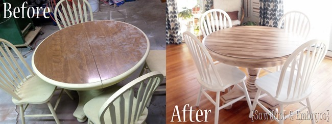 Dining set transformation using a technique to make it look like wood planks {Sawdust and Embryos}