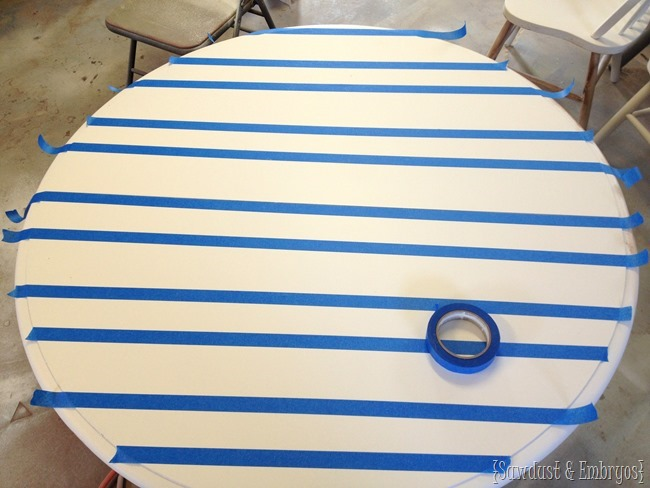 Faux planks on a table top furniture transformation {Sawdust and Embryos}