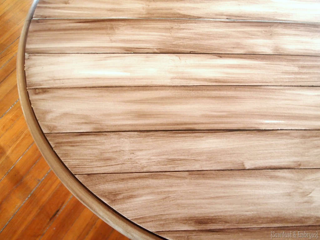 Faux Wood Planked Table Top Using Paint And Stain To Create A Woodgrain  Look.