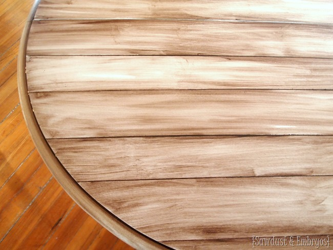 Faux wood planked table top using paint and stain to create a woodgrain look {Sawdust and Embryos}