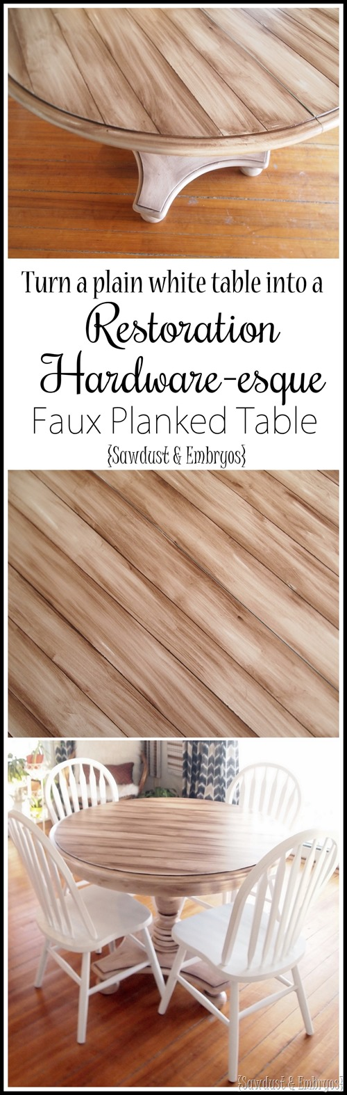 Simple technique for making a plain white table look like an expensive Restoration Hardware planked table! {Sawdust and Embryos}