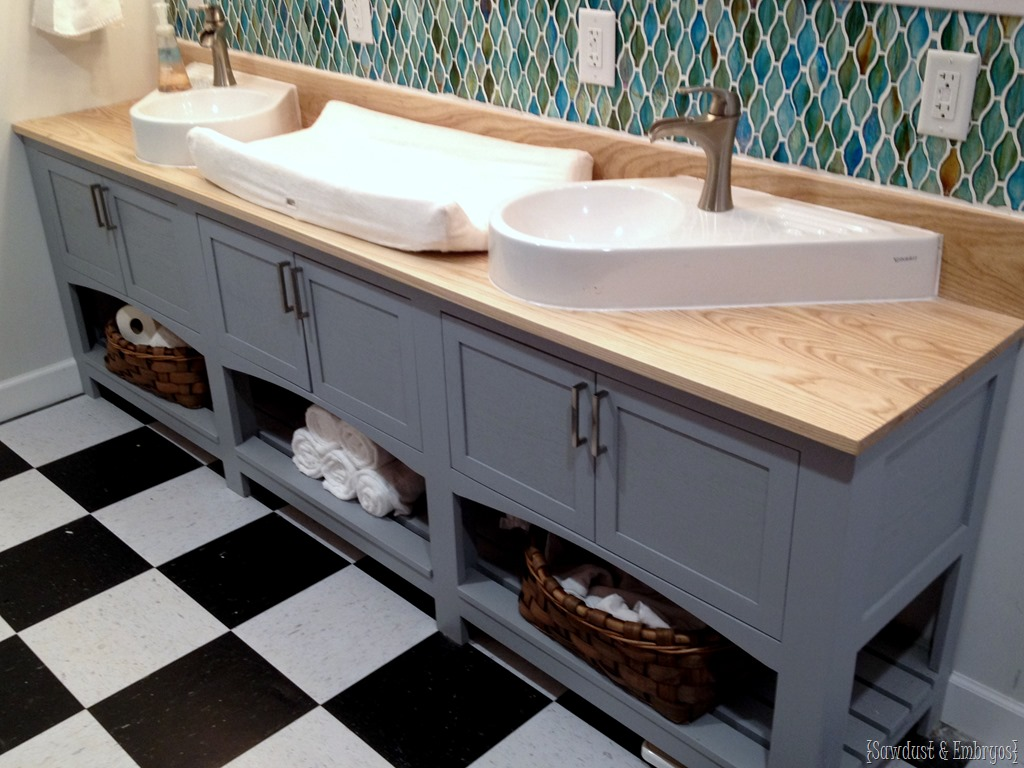 Nice Bathroom vanity with double sink and a spot for a baby changing pad Sawdust
