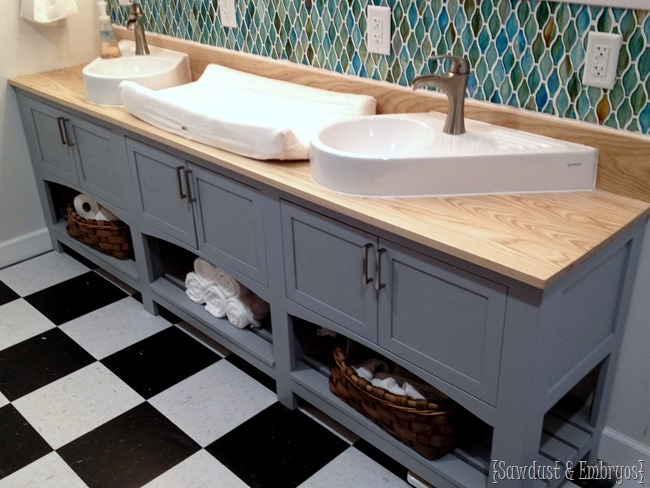 Bathroom vanity with double sink and a spot for a baby changing pad! {Sawdust and Embryos}