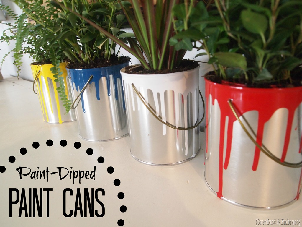 Delightful Where To Buy Planters Part - 4: Buy Plain Empty Quart Paint Cans And Dip Them In Paint For Fun Planters Or  Cute