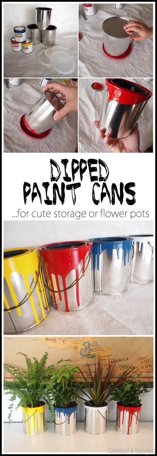 Buy plain empty quart paint cans and dip them in paint for fun planters or cute storage! {Sawdust and Embryos}