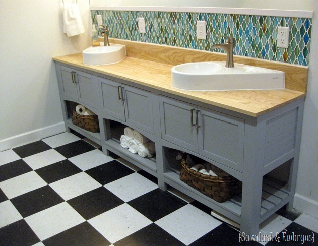 Custom built shaker-style bathroom vanity with geometric backsplash {Sawdust and Embryos}