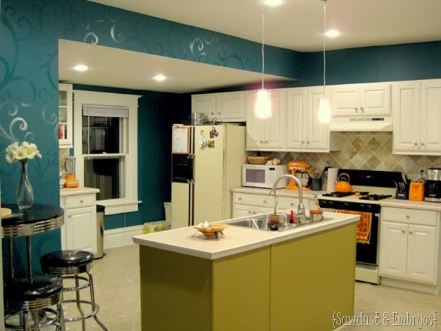 Dark Teal kitchen with white cabinets {Sawdust and Embryos}