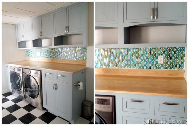 Laundry Room Transformation... installing glass tile backsplash {The Sawdust Maker}.jpg