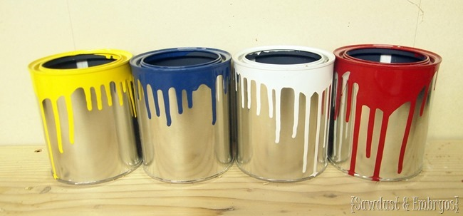 Make fun drippy paint cans for artistic flower pots or storage containers {Sawdust and Embryos}