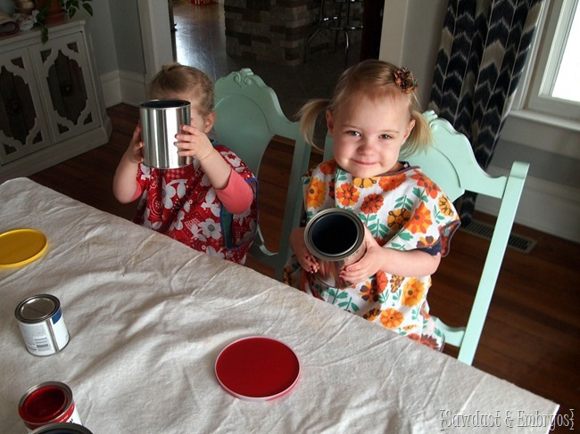 Making drippy paint can flower pots {Sawdust and Embryos}