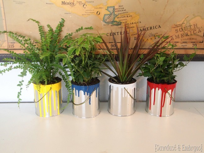 Paint-dipped paint cans as cute planters! {Sawdust and Embryos}.JPG