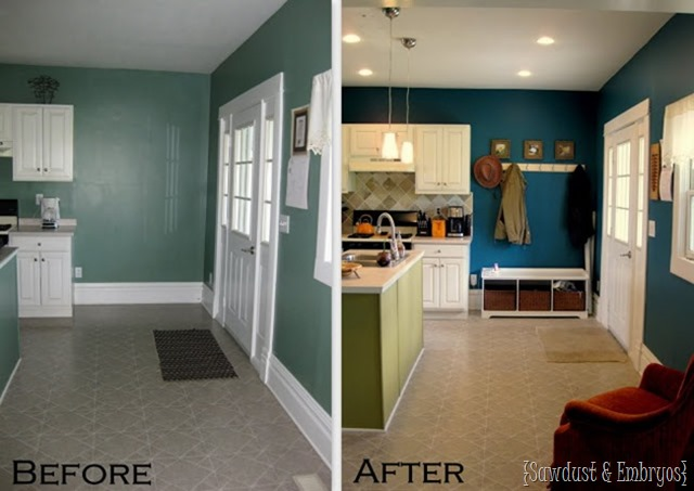 My Diy Teal Kitchen Walls And Dark Cabinets