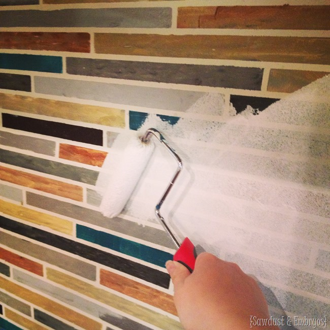 Repainting the backsplash! {Sawdust and Embryos}